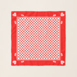 """Be Mine Valentine&#39;s Day Heart Polka Dots Red Pink Scarf<br><div class=""""desc"""">&quot;Be Mine&quot; Valentine&#39;s Day Square Chiffon Scarf.  Red on white polka dots with pale pink hearts that say Be Mine on the corners.</div>"""