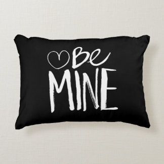 Be Mine Valentine's | White Brush Script Decorative Pillow