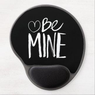 Be Mine Valentine's   White Brush Script Gel Mouse Mat