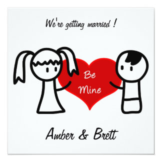 'Be mine' wedding invitation card