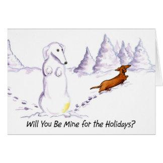 Be Mine Weiner Dog Christmas Card