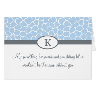 Be My Bridesmaid - Blue Giraffe Print Card