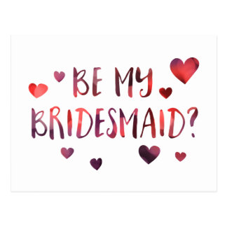 be my bridesmaid bokeh postcard
