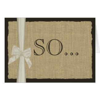 Be My Bridesmaid Burlap and Bow Greeting Card