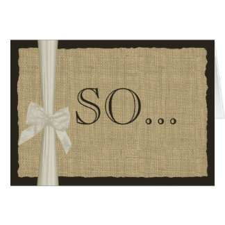 Be My Bridesmaid Burlap and Bow Stationery Note Card