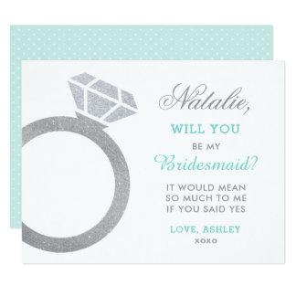 Be My Bridesmaid Card   Diamond Ring Design