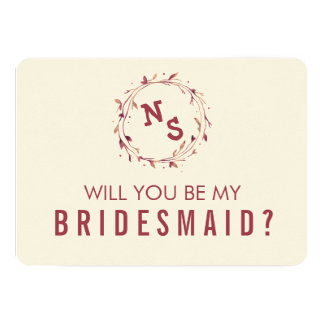 Be My Bridesmaid Card   Marsala Watercolor