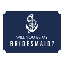 Be My Bridesmaid Card   Nautical Rope & Anchor