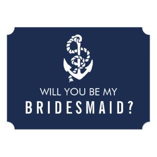 Be My Bridesmaid Card | Nautical Rope & Anchor