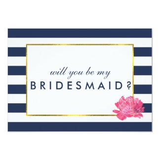 Be My Bridesmaid Card | Navy Stripe & Pink Peony