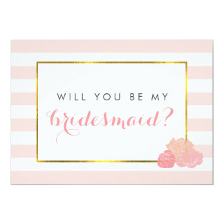 Be My Bridesmaid Card | Pink Stripe & Blush Peony