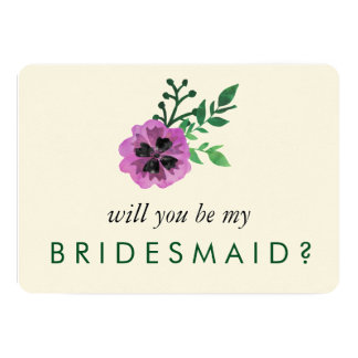 Be My Bridesmaid Card | Purple Pansy