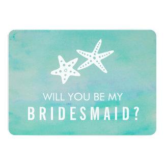 Be My Bridesmaid Card   Starfish Aqua