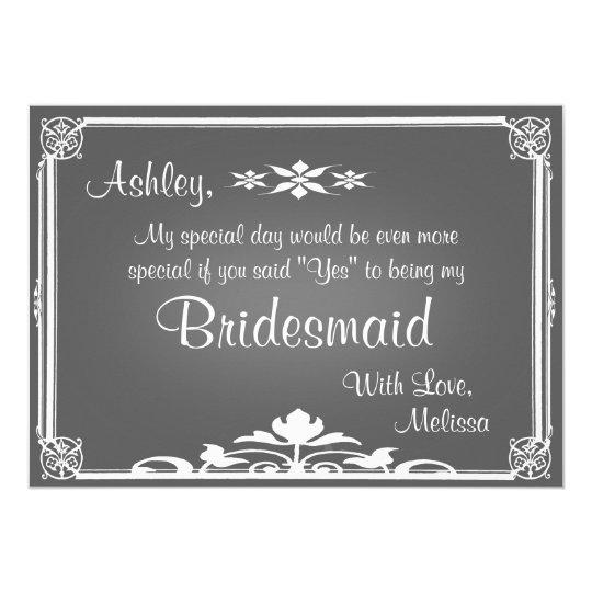 Be My Bridesmaid Chalkboard Invitation