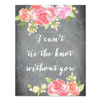 Be My Bridesmaid Chalkboard Watercolor TIE KNOT Card