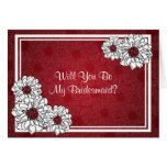 Be My Bridesmaid Dahlia Floral Red Greeting Card