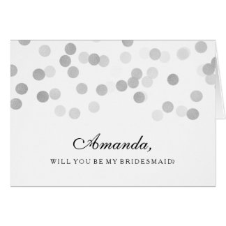 Be My Bridesmaid Faux Silver Foil Glitter Lights Greeting Card