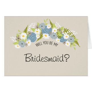 Be My Bridesmaid Floral Wreath Card