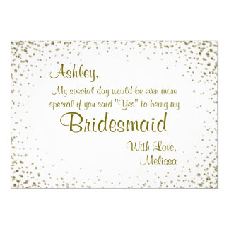 Be My Bridesmaid | Gold Confetti Card