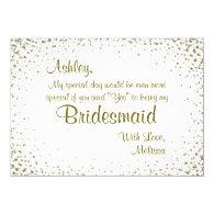 Be My Bridesmaid | Gold Confetti 5x7 Paper Invitation Card