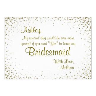 Be My Bridesmaid   Gold Confetti 5x7 Paper Invitation Card