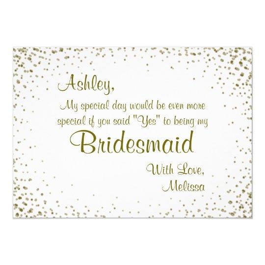 Be My Bridesmaid Gold Confetti Invitation Zazzle Com