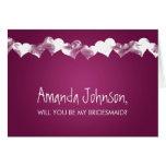 Be My Bridesmaid Grunge Hearts Pink Berry Greeting Card