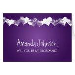 Be My Bridesmaid Grunge Hearts Purple Greeting Card