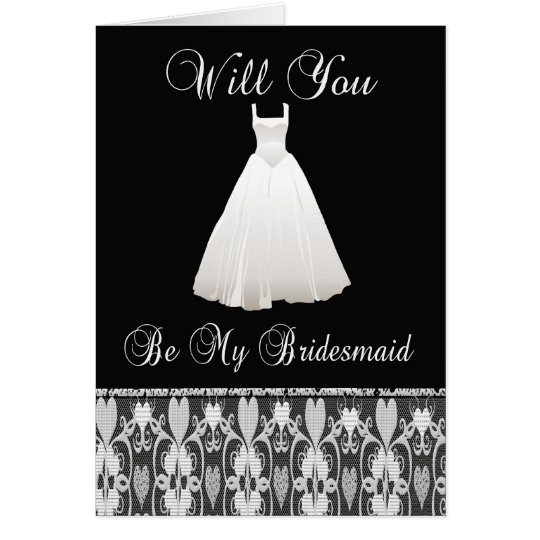 Be My Bridesmaid Invitation With Lace