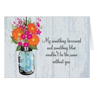 Be My Bridesmaid Mason Jar Gerber Daisies Cards