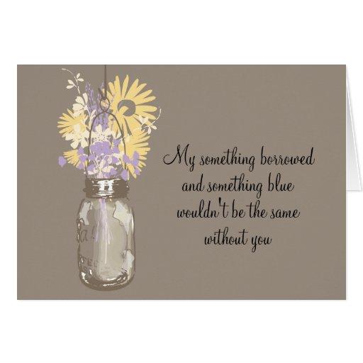 Be My Bridesmaid - Mason Jar & Wildflowers Stationery Note Card