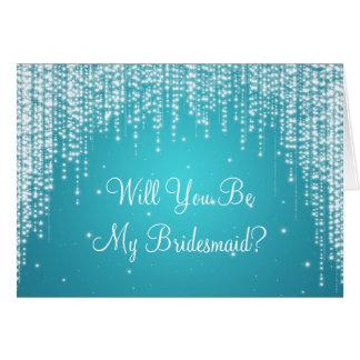 Be My Bridesmaid Night Dazzle Blue Card