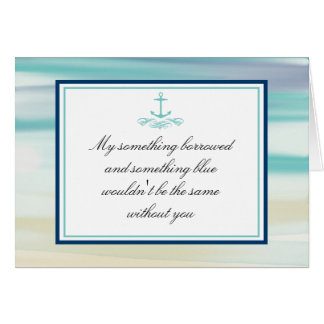 Be My Bridesmaid Ocean Watercolor & Anchor Card