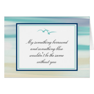 Be My Bridesmaid Ocean Watercolor & Seagulls Stationery Note Card