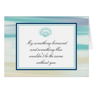 Be My Bridesmaid Ocean Watercolor & Shell Card