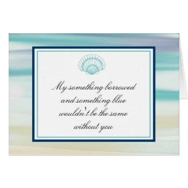 labellarue Be My Bridesmaid Ocean Watercolor & Shell Card