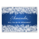 Be My Bridesmaid Party Sparkle Blue Card