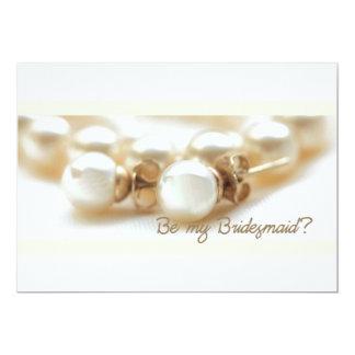 Be my bridesmaid - pearl earrings in beige card