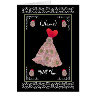 Be My Bridesmaid - Red and Mauve Flowered Dress Card