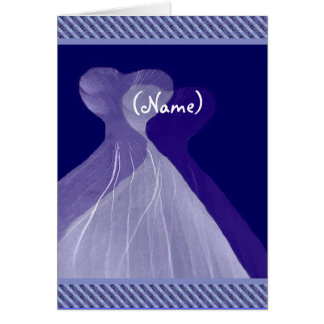 Be My Bridesmaid Royal Blue Theme Flowing Gown Greeting Cards
