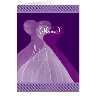 Be My Bridesmaid Royal Purple Flowing Gowns Card