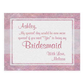 Be My Bridesmaid | Soft Pink Postcard