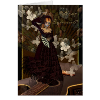 Be my Bridesmaid Spanish Style Fan Dancer Card