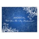 Be My Bridesmaid Vintage Swirls Blue Card
