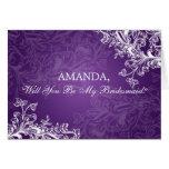 Be My Bridesmaid Vintage Swirls  Purple Card