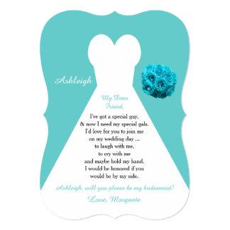 Be My Bridesmaid Wedding Dress on Aqua Invitation