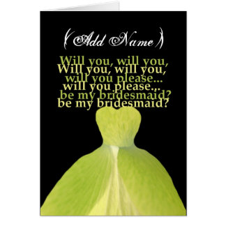 Be My Bridesmaid with LIME GREEN Gown Card
