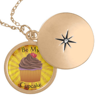 Be My Cupcake Chocolate Gold Plated Necklace