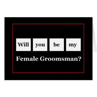 Be My FEMALE GROOMSMAN Squares Wedding Invitation Greeting Card