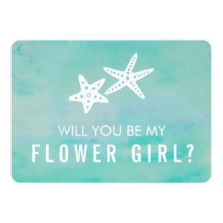 Be My Flower Girl Card   Starfish Aqua
